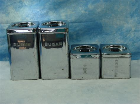 retro vintage chrome canister set by lincoln beautyware 4