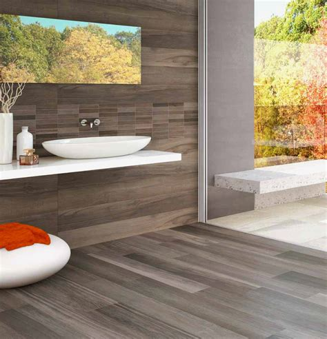 wood look porcelain tile Bathroom Contemporary with 6x48