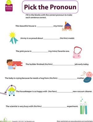 pronoun worksheet kindergarten get into grammar the pronoun worksheet education