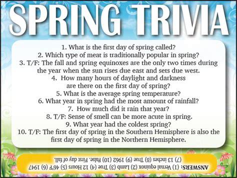 printable quiz about spring spring trivia jamestown gazette