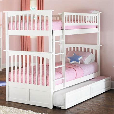 White Bunk Bed With Trundle White Columbia Bunk Bed With Raised Panel Trundle Bed Contemporary Bunk Beds