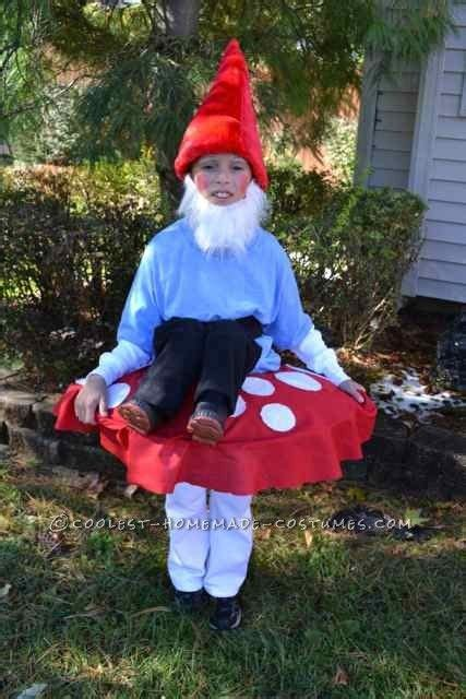 cool costume garden gnome sitting on top of a
