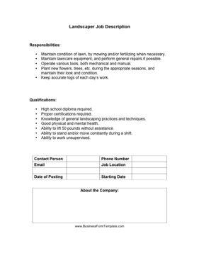 landscaper job description template