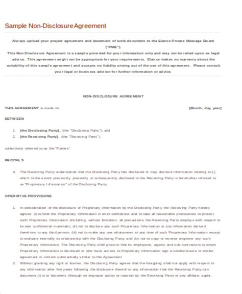 Non Disclosure Agreement Letter Of Intent disclosure agreement sle