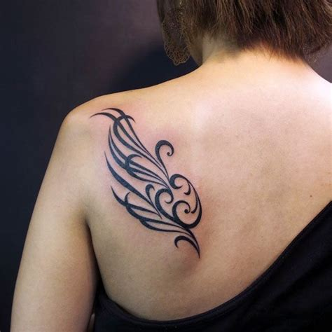wing shoulder tattoo feather wing tribal shoulder beautifully