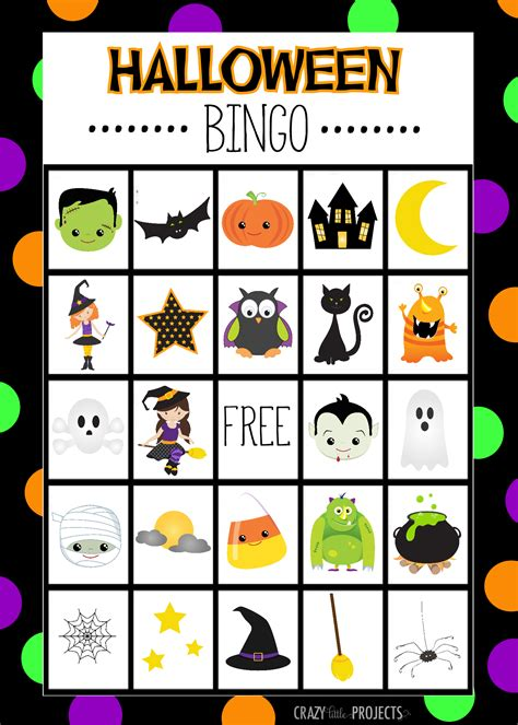 free halloween bingo cards for kindergarten printable