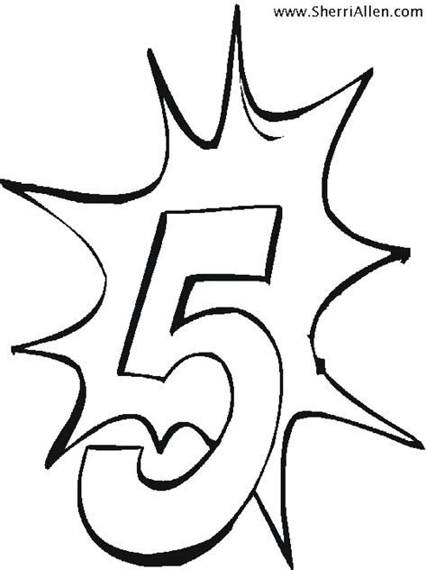 the number 5 sheets colouring pages