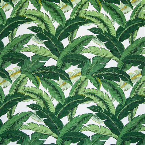 Ko Flamingo White by Emerald Green Woven Upholstery Fabric