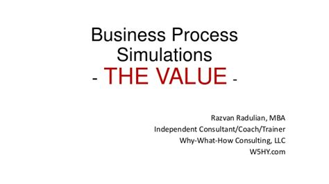Mba Independent Consulting Syllabus by Bpsim The Value Of Business Process Simulation