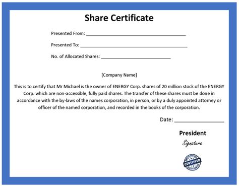 shareholder certificate sle another inform direct