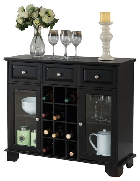 Black Wine Cabinet Buffet by Buffet Server Sideboard Cabinet With Wine Storage Black
