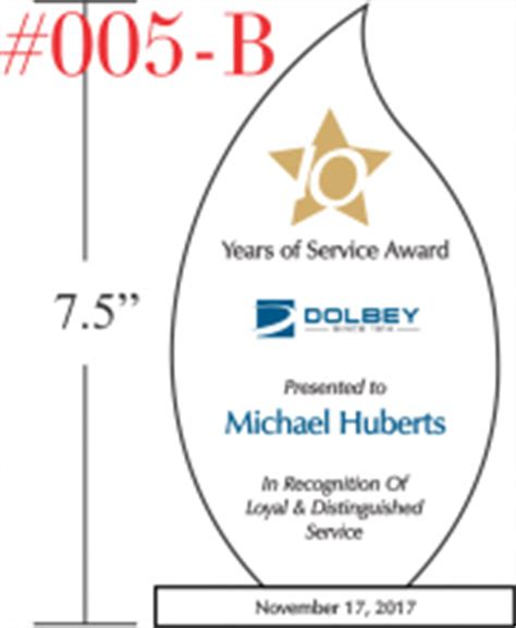 Flame Employee Service Awards Crystal Central 10 Years Service Award Template