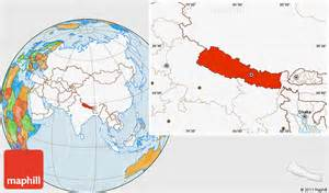World Map Of Nepal by Political Location Map Of Nepal Highlighted Continent