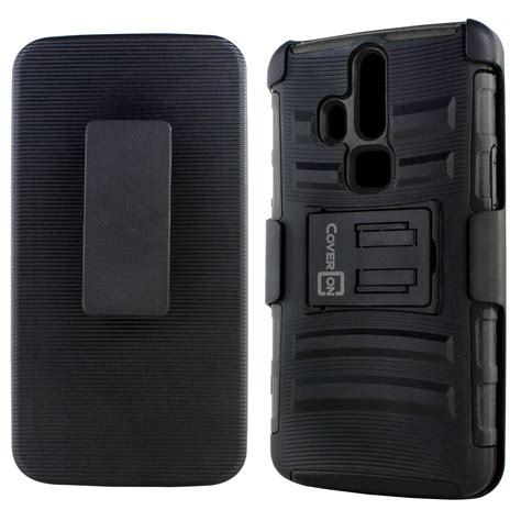 rugged cell phone holster rugged belt clip holster phone combo protective cover for zte axon pro ebay