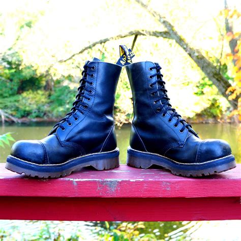 Boot Safety Dc 80s steel toe dr martens black leather cap toe boots