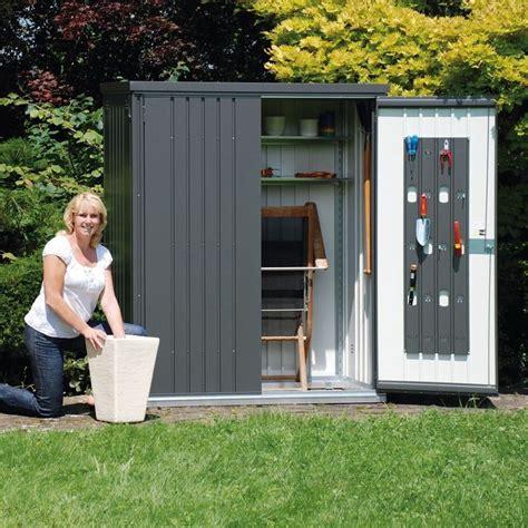 armadio porta attrezzi da giardino armadio porta attrezzi 155x83 grigio scuro metallizzato