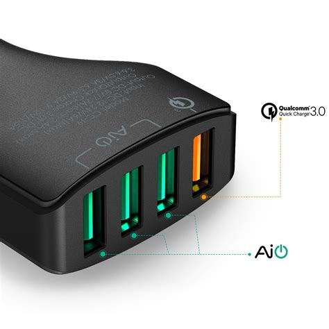 Aukey Oc 3 0 Cc T9 Car Charger aukey charge 3 0 4 ports car charger aukey thailand