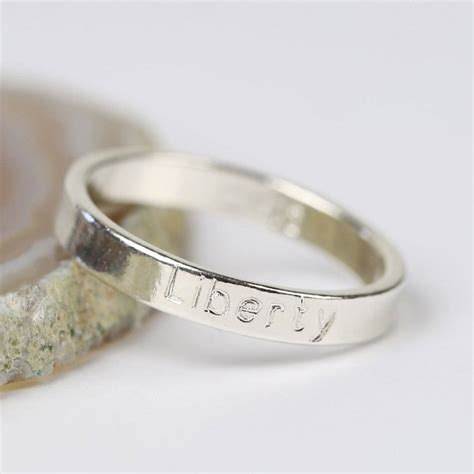 personalised engraved sterling silver name ring by