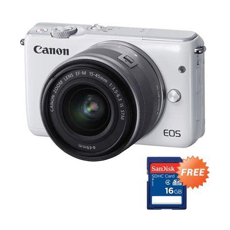 Kamera Canon Eos M10 Kit 15 45mm Free 8 Items jual canon eos m10 kit 15 45mm mirrorless putih resmi