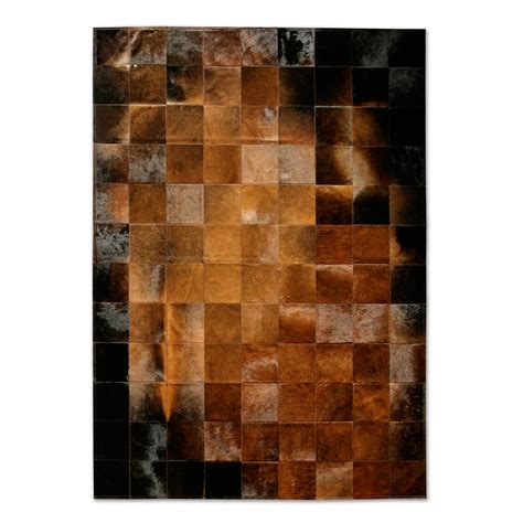 Brown Hide Rug Rugs Patchwork Cowhide Park Normand Brown Black Area