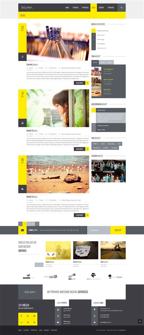 html5 blog layout exle solana responsive html5 template by abcgomel themeforest
