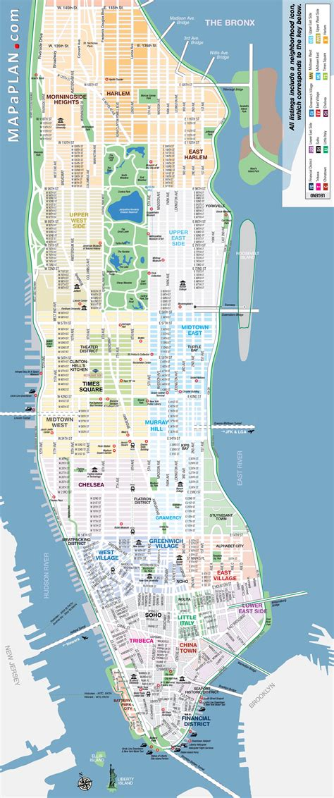 map of manhattan new york city manhattan streets and avenues must see places new york map