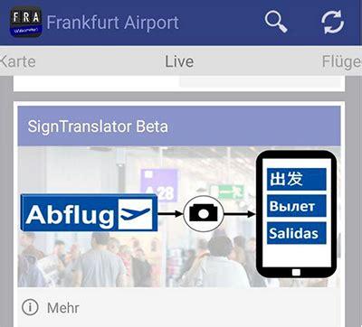 signage translation function added to frankfurt airport app