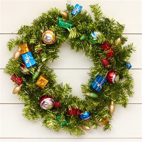 be joyful christmas tinsel wreath wreaths floral