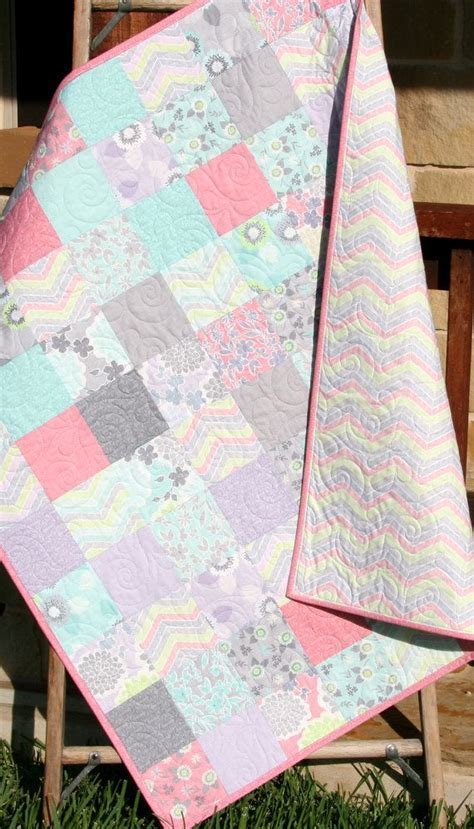 shabby chic baby girl quilt cottage style pastel light pink aqua grey white purple gray child