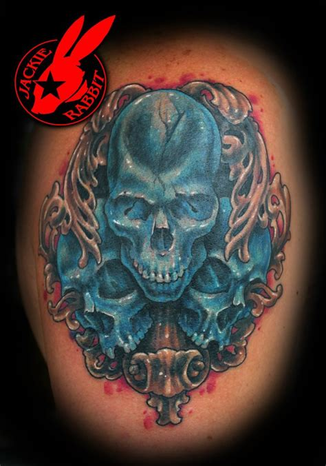 blue skull tattoo by jackie rabbit by jackierabbit12 on