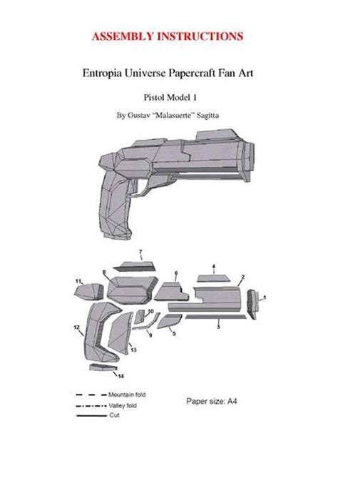 Pistol Papercraft - file papertropia papercraft pistol model 1 assembly