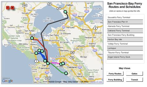 san francisco ferry map sf bay area ferry routes schedules and walkshed map