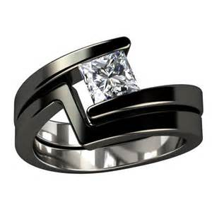 Black titanium engagement ring something borrowed something blue