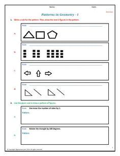 pattern identification math preview of math worksheet on input output tables level 1