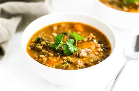lentil sausage soup healthy choice sausage kale and lentil soup the wholesome fork