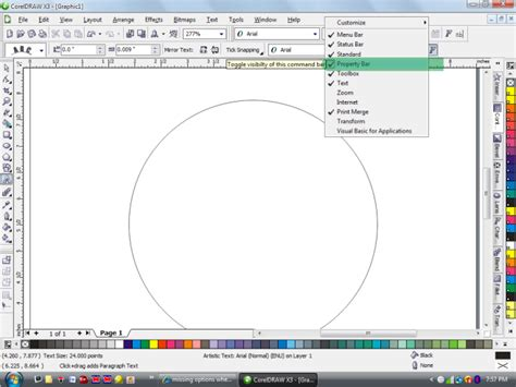 vertical text in coreldraw x4 missing options when i use fit text to path pls help