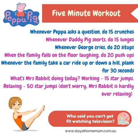 five minute workout to peppa pig for mums stay at home