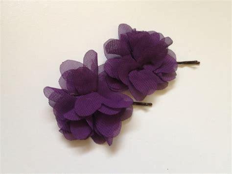 Wedding Hair Accessories Purple by Plum Chiffon Flower Bridal Hairpiece Purple Bridesmaids
