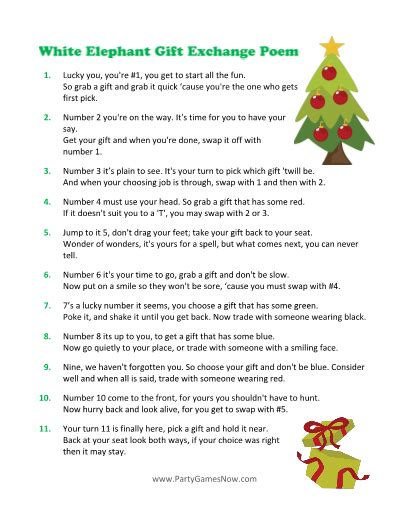 printable christmas exchange games white elephant gift exchange poem game this that and