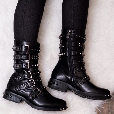 black leather biker boots bomb black biker boots from spylovebuy com