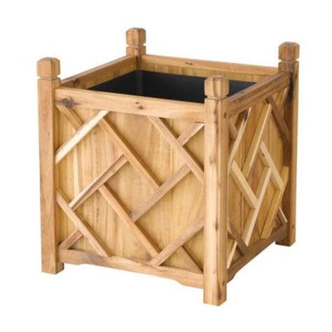 dmc chippendale 18 in square wood planter 70209