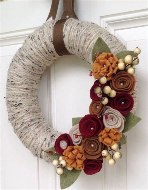 cute fall autumn acorn nut pattern christmas ornaments 23 cute and cozy yarn wreaths for fall d 233 cor digsdigs