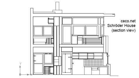 autocad section rietveld schroder house gerrit rietveld section view
