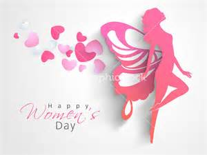 happy womens day greeting card or poster design with pink silhouette of a in