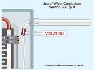 nec requirements on use of white wire for ungrounded