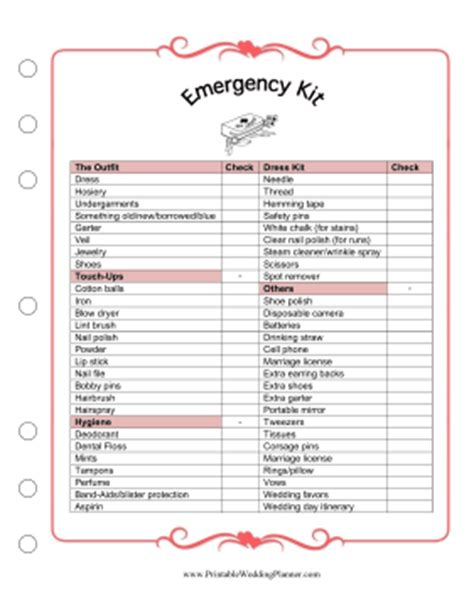 printable wedding planning kit emergency kit