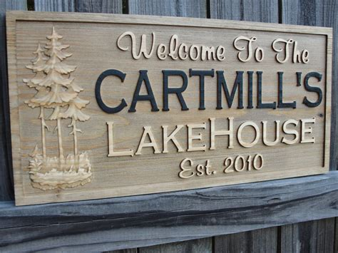 lake house names personalized family name sign carved cabin sign decor rustic lake house sign custom