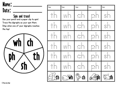 Digraph Worksheet by Free Spin And Trace Digraph Worksheet Digraphs