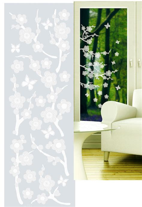 sticker for glass wall blossom etched glass peel and stick wall sticker