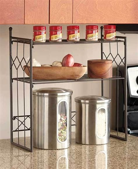 Kitchen Countertop Shelf Bronze 2 Tier Shelf Kitchen Counter Space Saver Cabinet Spice Rack Storage Decor For The
